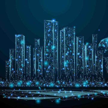 City Skyline in blue nodes